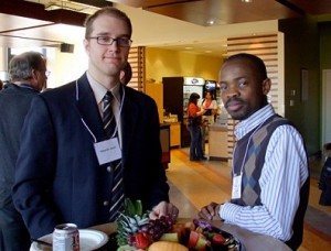 Sebastien Jodoin (left), one of the judges at the Conference, and Demola Okeowo (right), a presenter from Queen's University Faculty of Law