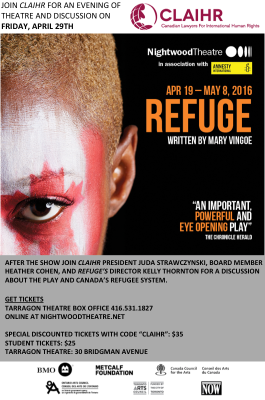CLAIHR Refuge Theatre Night April 29th